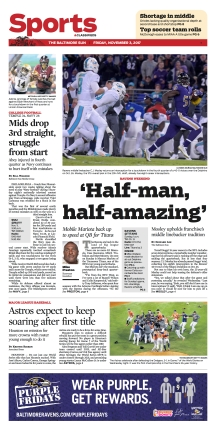 Baltimore Sun Sports Cover - 11/3/2017