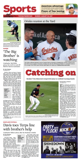 Baltimore Sun Sports Cover - 8/20/2017