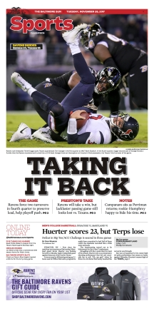 Baltimore Sun Sports Cover - 11/28/2017
