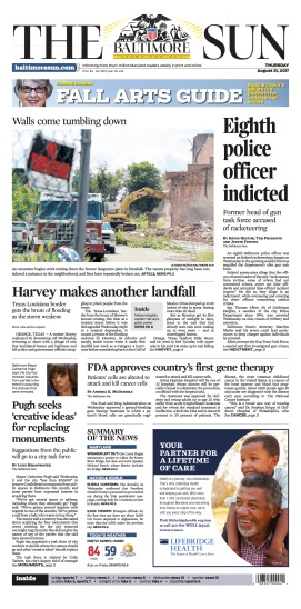 Baltimore Sun Front Page - 8/31/2017