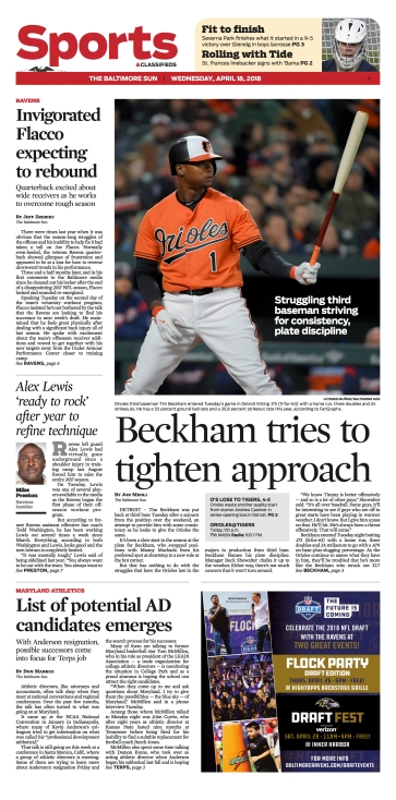 Baltimore Sun Sports Cover - 4/18/2018