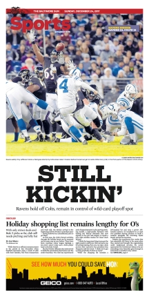 Baltimore Sun Sports Cover - 12/24/2017