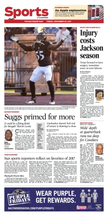 Baltimore Sun Sports Cover - 12/29/2017