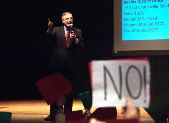 U.S. Rep. Andy Harris answered questions on a wide range of topics at a town hall meeting he held with his constituents Friday, March 31 at Chesapeake College in Wye Mills, Maryland.