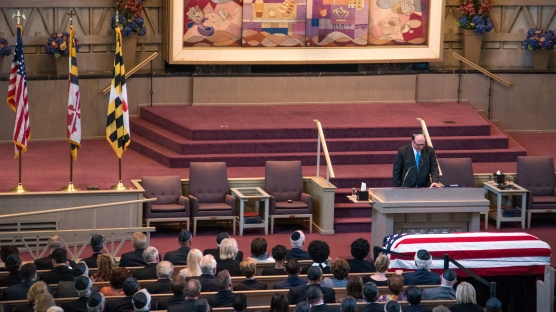 Rabbi Andrew Busch conducted the funeral for Baltimore County Executive Kevin Kamenetz on Friday afternoon.