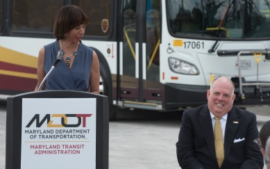 Baltimore Mayor Catherine Pugh joined Maryland Governor Larry Hogan at the West Baltimore MARC Station on Wednesday, June 14 to announce the rollout of BaltimoreLink.