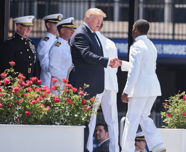 President Donald Trump spoke at the 2018 Naval Academy Graduation and Commissioning Ceremony on Friday, May 25, 2018.